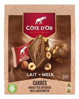 COTE D'OR carres lait noisettes 200g