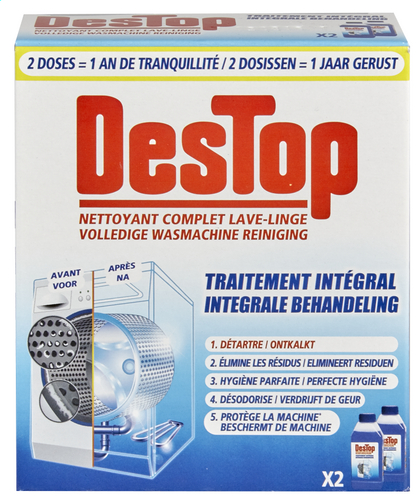 destop nettoyant lave linge 2x250ml colruyt. Black Bedroom Furniture Sets. Home Design Ideas