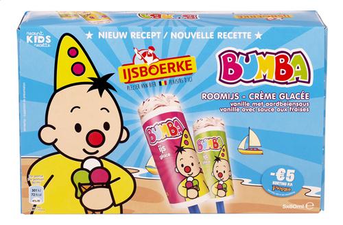 ijsboerke bumba glace vanille fraise batonnet 5x80ml | colruyt