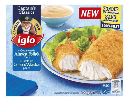 IGLO 4 filets Colin d'Alaska panés 400g